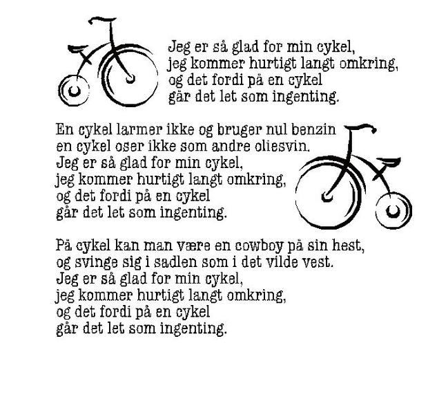 jeg er så glad for min cykel sang
